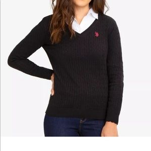 US Polo Assn Cable Knit Sweater in Anthracite
